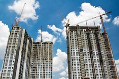 Raw state residential highrise and jib crane Royalty Free Stock Image