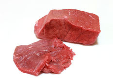 Raw steak. Isolated on white background stock photos