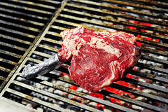 Raw Steak on the grill Stock Images