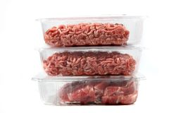 Raw steak and hamburger meat Royalty Free Stock Photo