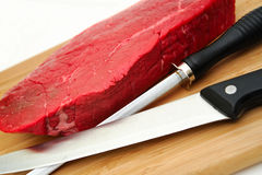 Raw Steak An Knife Royalty Free Stock Photos
