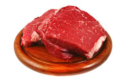 Raw steak over on plate Royalty Free Stock Image