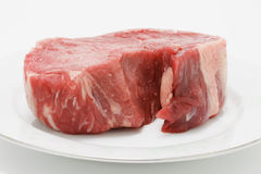 Raw Steak on Plate Stock Images
