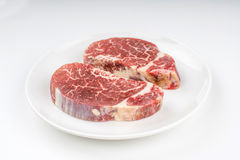 Raw steak on a plate Royalty Free Stock Photo