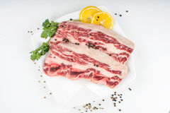 Raw steak on a plate Stock Photo