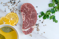 Raw steak royalty free stock photos