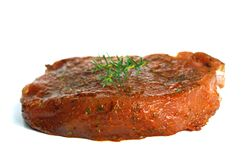 Raw steak. On white backgroud Royalty Free Stock Images
