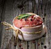 Raw steak on wood Stock Photo