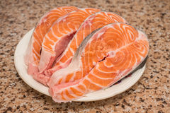 Raw steaks of fresh salmon fish Stock Photography