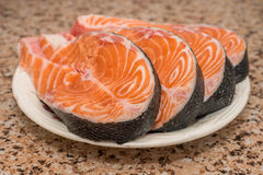 Raw steaks of fresh salmon fish Royalty Free Stock Image