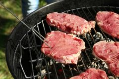 Raw steaks on grill. Outdoors Royalty Free Stock Images