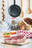 Raw steaks on the kitchen table Stock Photos