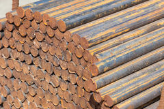 Raw Steel Round Bar Cuts stock images