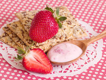 Raw strawberry and tasty cake Stock Photo