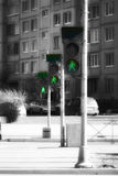 Raw of street traffic lights. Good quality (sharp with quite low noise) photo of three street traffic lights standing in a raw: black plastic with metal body and Stock Photo