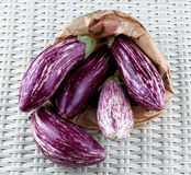Raw Striped Eggplants Royalty Free Stock Images