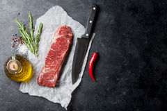 Raw striploin steak Royalty Free Stock Images