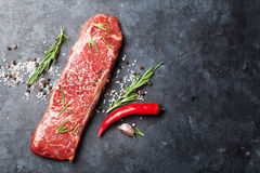 Raw striploin steak Royalty Free Stock Images