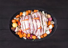 Raw stuffed chiken dish to roast Royalty Free Stock Images