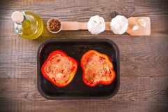 Raw stuffed peppers. Stock Images