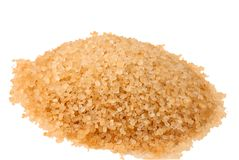 Raw sugar. Isolated on a white background Royalty Free Stock Image