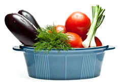 Raw summer vegetables in a pot Royalty Free Stock Image