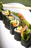 Raw sushi roll. Vegetarian food Royalty Free Stock Photography