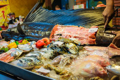 Raw sward fish on ice selling in fresh seafood market at Lipe is Stock Images