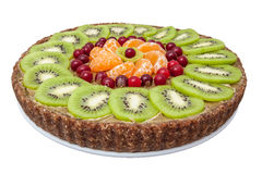 Raw sweet cake on plate. Raw sweet cake with kiwi on plate Stock Photography