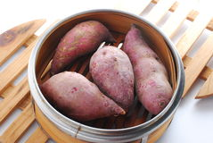 Raw sweet potato. In steamer Royalty Free Stock Photos