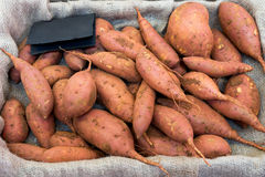 Raw sweet potatoes in a box. Royalty Free Stock Photos