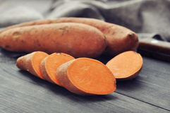 Raw sweet potatoes Royalty Free Stock Photo