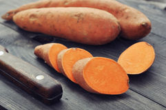 Raw sweet potatoes Stock Image