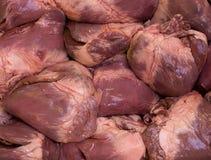 Raw swine hearts Royalty Free Stock Photos