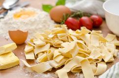 Raw tagliatelle Stock Images