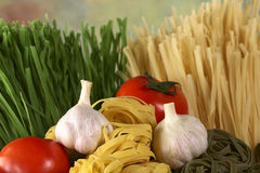 Raw Tagliatelle with Vegetables. Raw tagliatelle paglia e fieno (straw and hay) with raw garlic bulbs and globe tomato (Selective Focus, Focus on the front of Royalty Free Stock Photography