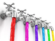 Raw of taps with paint jets on white background Royalty Free Stock Photography