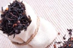 Raw tea in small sack Royalty Free Stock Photo