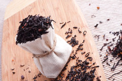 Raw tea in small sack Royalty Free Stock Image