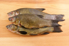 Raw tench on wooden background Royalty Free Stock Photo