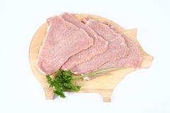 Raw Tenderized Pork Chops Royalty Free Stock Photos