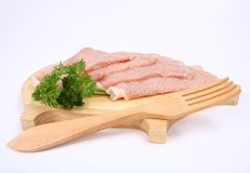 Raw tenderized pork chops Royalty Free Stock Photos