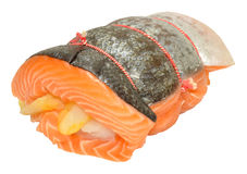 Raw Three Fish Roast. With salmon rolled around smoked haddock and cod isolated on a white background Stock Image