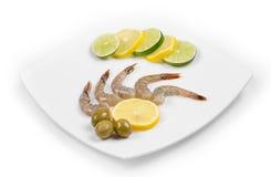 Raw tiger shrimps Stock Photos