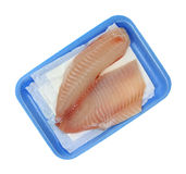 Raw tilapia on blue foam tray Stock Images