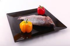 Raw Tilapia fish. On black plate Royalty Free Stock Photos