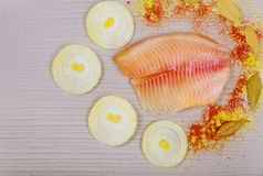 Raw tilapia fish fillet ready for cooking. On cutting board royalty free stock image