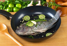 Raw Tilapia Fish in Frying Pan. Raw tilapia with condiments (pepper corns, lime slices, garlic and rosemary) in frying pan with a wooden stirring spoon ( Royalty Free Stock Image