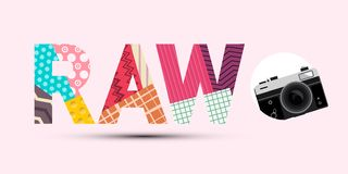 RAW Title Made from Paper Cut Papers with Retro Digital Camera Modern Design on Pink Background. RAW Title Made from Paper Cut Papers with Retro Digital Camera stock illustration