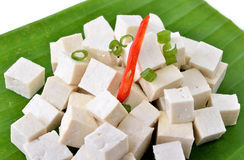 Raw tofu cut in dices Royalty Free Stock Photos